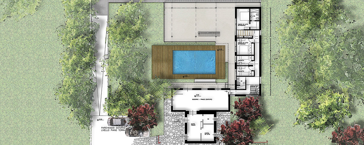 Progetto ampliamento villa con piscina gg progetti for Prospetti di villette