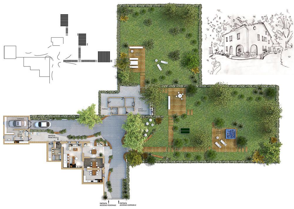 Ristrutturazione villa gg progetti for Planimetria giardino