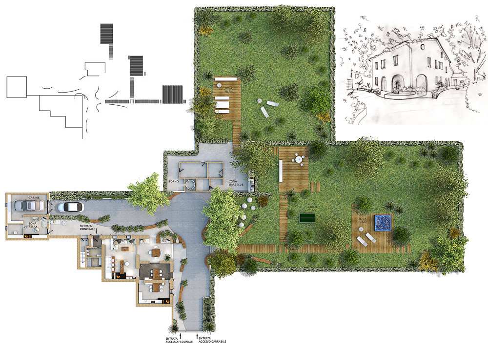 Rstrutturazione progettazione interni ed esterni villa for Progettazione esterni casa
