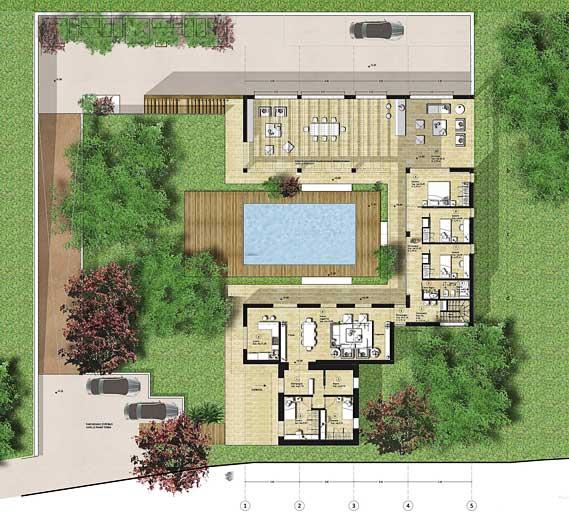 Villa con giardino e piscina gg progetti for Progetti di planimetrie di case di campagna