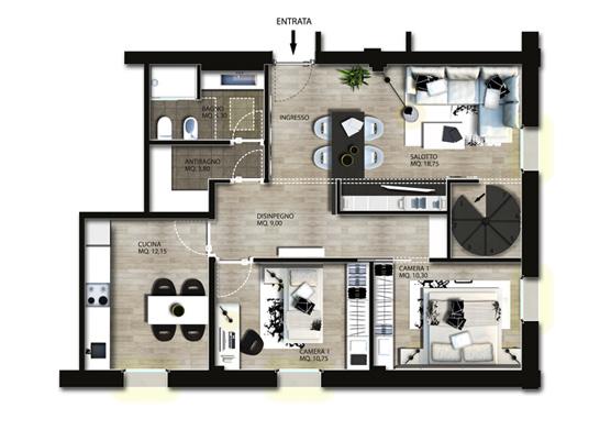 Progettazione interni appartamento gg progetti for Piani di idee di progettazione seminterrato