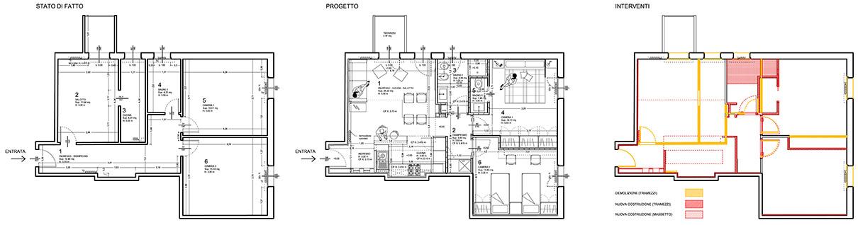 Progetto appartamento 65 mq for Progetto ristrutturazione appartamento